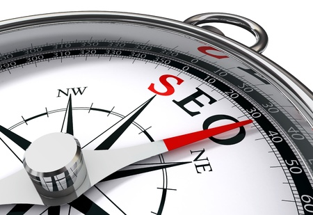 seo optimization: seo the way indicated by compass conceptual image Stock Photo