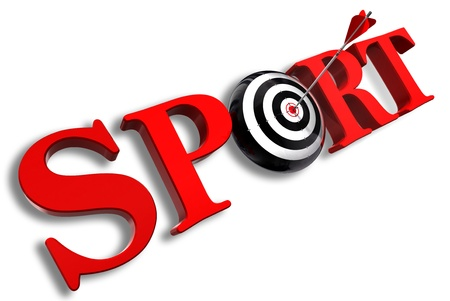 sport red word and conceptual target with arrow on white background photo