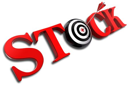 3d word: stock red word and conceptual target with arrow on white background