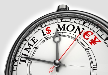time is money concept clock closeup on white background with red and black words Stock Photo - 12117968