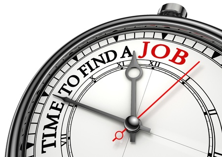 hire: time to find a job concept clock closeup on white background with red and black words