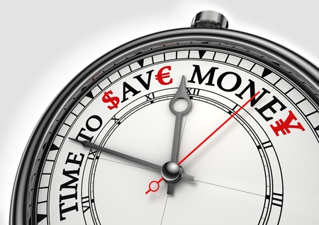 buy time: time to save money concept clock closeup on white background with red and black words Stock Photo