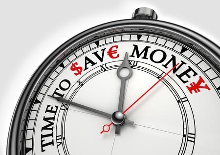 einsparung: Zeit, Geld Konzept closeup auf weißem Hintergrund zu sparen mit roten und schwarzen Wörter Lizenzfreie Bilder