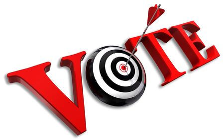 vote red word and conceptual target with arrow on white background photo