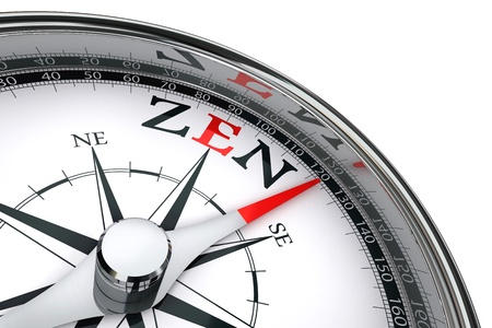 zen towards east indicated by compass conceptual image photo