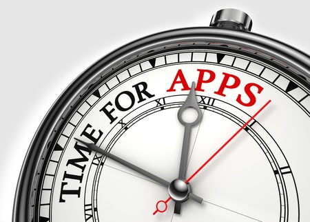 application sign: time for apps concept clock closeup on white background with red and black words Stock Photo