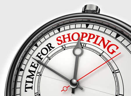 time for shopping concept clock closeup on white background with red and black words Stock Photo - 12117973