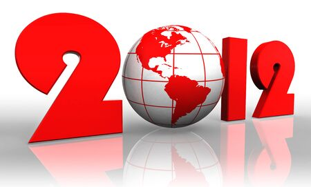 new year 2012 earth globe reflecting on white background Stock Photo - 12727816