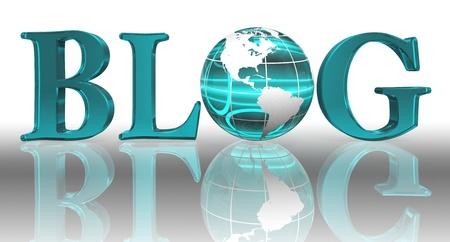 blog logo word and blue earth globe Stock Photo - 12727850
