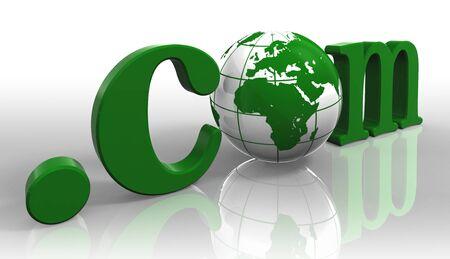 dot com: dot com internet domain logo green word and earth globe