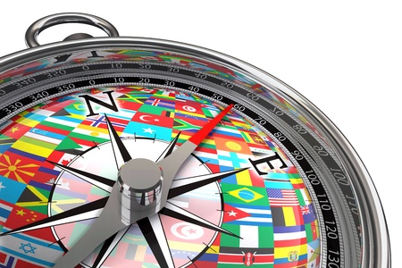 west europe: compass with flags travel concept on white background Stock Photo