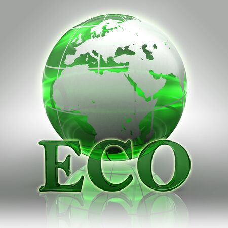 eco green word and earth globe glass logo  photo