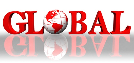 red sphere: global red word and earth globe on white background  Stock Photo