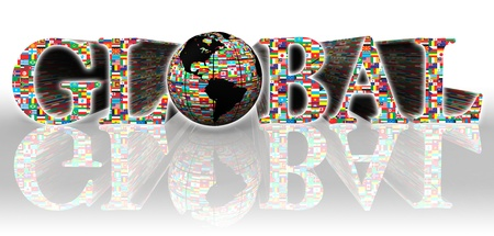 global flags word and earth globe on white background  photo