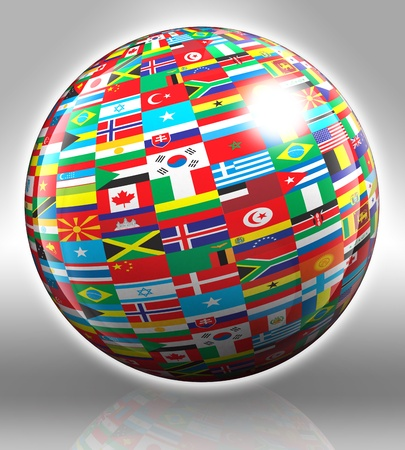 globe with flags on grey background photo