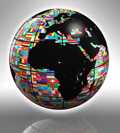 mapa de africa: planeta tierra con banderas con �frica y Europa Foto de archivo