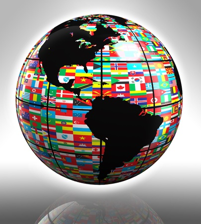 earth globe with flags featuring north and south america Stock Photo - 12727909