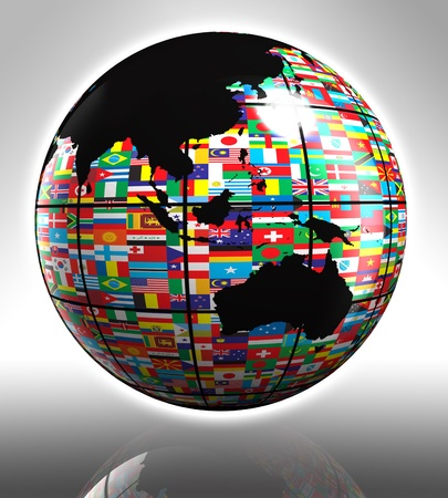 earth globe with flags featuring australia and asia Stock Photo - 12727899