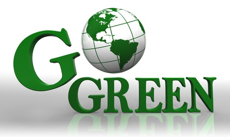 go green icons: go green logo word and earth globe with clipping path Stock Photo
