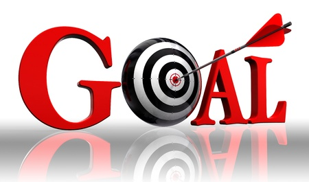 objectives: goal red word and conceptual target with arrow on white background clipping path included