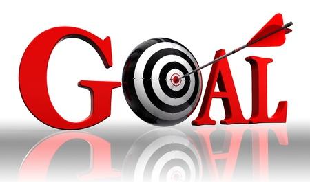 objetivo: palabra objetivo rojo y blanco con el concepto de la flecha en el camino de recorte de fondo blanco incluidos Foto de archivo