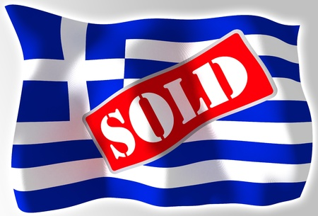 greece crisis concept flag with sold sign photo