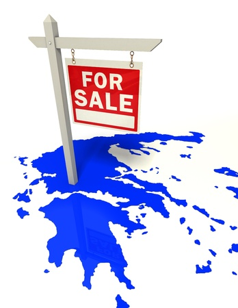 greece blue map with red sign for sale crisis concept Stock Photo - 12727791