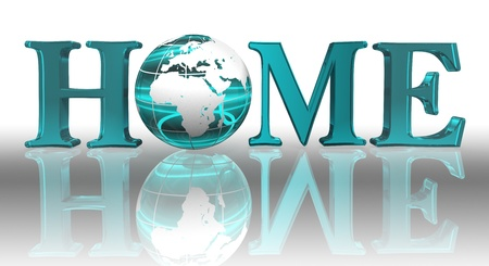 home logo word and blue earth globe photo
