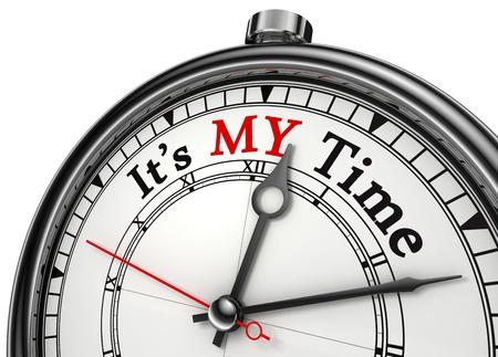 meine Zeit concept clock Nahaufnahme auf weißem Hintergrund mit roten und schwarzen Worten isoliert