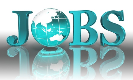jobs logo word and blue earth globe Stock Photo - 12727855