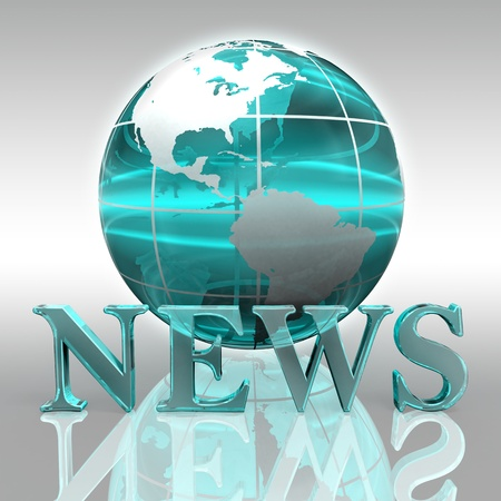 news blue word and earth globe glass logo Stock Photo - 12727857
