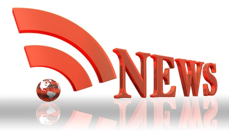 news background: rss news logo word and orange earth globe