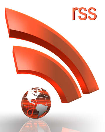 rss orange red symbol with earth globe photo