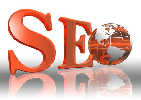 seo logo word and orange earth globe photo