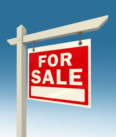 real estate for sale red sign on blue background Stock Photo - 12727835