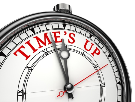 Time is up concept clock closeup isolated on white background with red and black words Stock Photo - 12727896