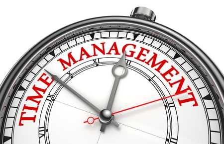 time of the day: time management concept clock closeup isolated on white background with red and black words Stock Photo