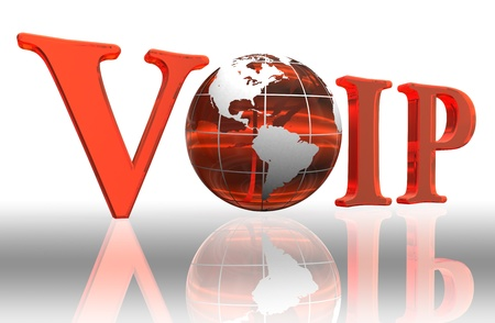 mobile voip: voip logo word and orange earth globe Stock Photo