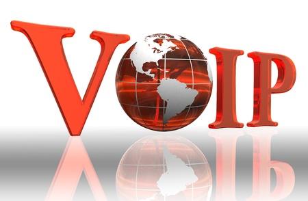 VoIP logotipo de la palabra y naranja planeta tierra Foto de archivo