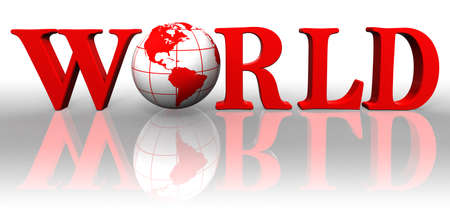 world red word and earth globe on white background  photo