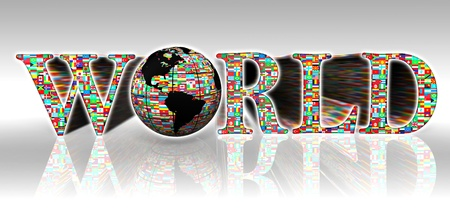3d word: world flags word and earth globe on white background