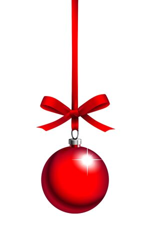 baubles: red christmas ball with ribbon on white background