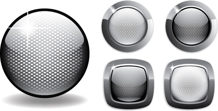 metal net: botones en blanco web neto estilo brillante de metal negro y blanco f�cil de editar
