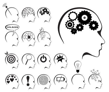las emociones: la actividad cerebral y el icono de los estados establecen en el fondo blanco