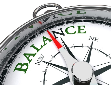 work life balance: balance towards north green word indicated by compass conceptual image