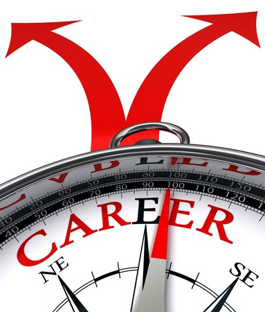 career choices: career cross roads concept compass with red word and two arrows on white background