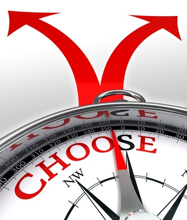 choose cross roads concept compass with red word and two arrows on white background