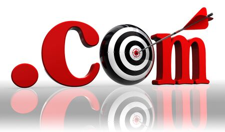 dot com: dot com red word and conceptual target with arrow on white background  Stock Photo