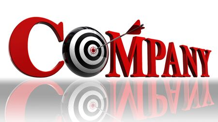 company red word and conceptual target with arrow on white background. Stock Photo - 13012765