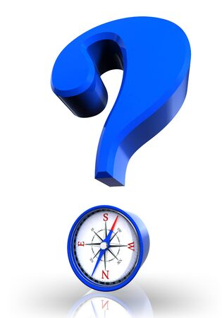 questionmark: questionmark and compass blue symbol on white background.